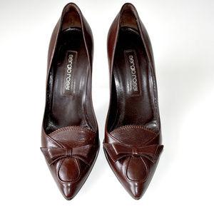 Sergio Rossi Brown Stiletto Bow Pumps/Shoes 37.5